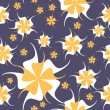 Decorative floral seamless on blue background — Vektorgrafik