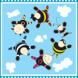 Funny group of in sky — Stock Vector