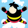 Fun kid on cloud — Stock Vector