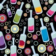 Vector de stock : Colorful bottles on black background - pattern