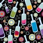 bottiglie colorate su sfondo nero - modello — Vettoriale Stock