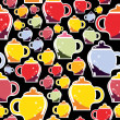 Stock Vector: Colorful cups - pattern