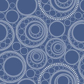 Decorative Circle on blue background - seamless pattern — Stock Vector