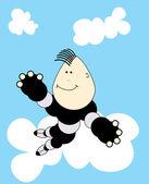 Fun kid on cloud — Stock Vector