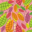 Stock Vector: Colorful tropical leafs - pattern