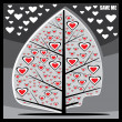 Stylized tree with hearts — Vettoriali Stock