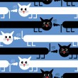 Crazy cats on blue background - seamless pattern — Imagen vectorial