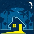 House at night in an environment of stars and moon — Imagen vectorial