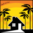 Stock Vector: Tropical resort