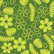 Decorative green leafs and flowers on green background - seamless pattern — Stock Vector