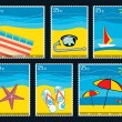 Six Summer postage stamps — 图库矢量图片
