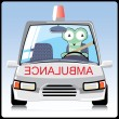Monster in the ambulance - Stock Vector
