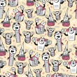Funny cartoon school objects - seamless pattern — Stok Vektör