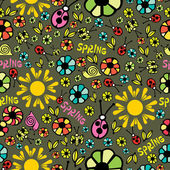 Colorful spring seamless - pattern — Vector de stock