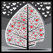 Stylized tree with hearts — Stok Vektör