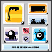 Set of Seven colorful monsters — Cтоковый вектор