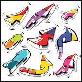Nine colorful 3d vector arrows set — Stock Vector