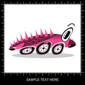 Pink cartoon funny car — Stockvektor