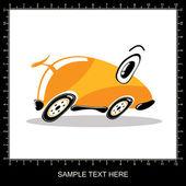 Oranje cartoon grappige auto — Stockvector