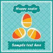 Three easter eggs - postcard — Stock Vector