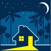 Maison dans la nuit dans un environnement d'étoiles et la lune — Vecteur