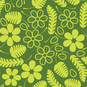 Decorative green leafs and flowers on green background - seamless pattern — Stockvektor
