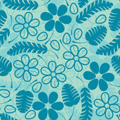 Decorative blue leafs and flowrs on blue background - seamless pattern — Vetorial Stock