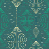 Decorative elements on blue background - seamless pattern — Stok Vektör