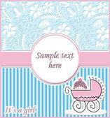 女の子の赤ちゃんの到着カード、ベクトル — ストックベクタ