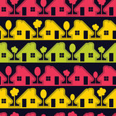 Colorful houses on black background - seamless pattern — Cтоковый вектор