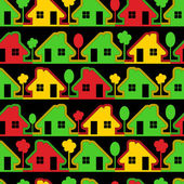 Colorful houses on black background — Stock Vector