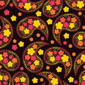Färgglada dekorativa element och flowrs på svart bakgrund - sömlösa mönster — Stockvektor