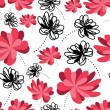 Decorative flowers on white background- seamless pattern — Stockvektor
