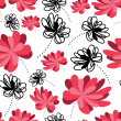 Decorative flowers on white background- seamless pattern — Stock Vector