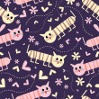 Seamless pattern with lovers cats — Imagen vectorial
