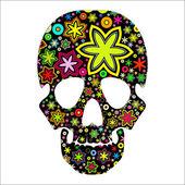 Cráneo en flores — Vector de stock