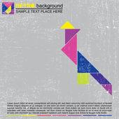Uccello colorato tangram - sfondo grunge retrò — Vettoriale Stock