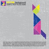 Renkli tangram kedi - retro grunge arka plan — Stok Vektör