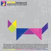 Barevné tangram kočka - retro grunge pozadí — Stock vektor