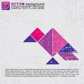 Barevné tangram pták - retro grunge pozadí — Stock vektor