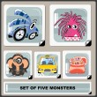Set of five colorful monsters — Stock Vector #10980478
