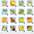 Stock Vector: Set of fruits and legumes