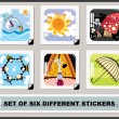 Set of six different stickers — Imagens vectoriais em stock