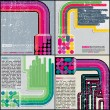 Set of four colorful retro grunge backgrounds - vector — Stock Vector