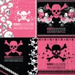 Set of four abstract skull grunge backgrounds design — Stock Vector #10981324