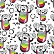 Funny cartoon eraser on white background - seamless pattern — Vector de stock