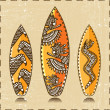 Vector Surfboards Icon (Vector tiki aloha design) — Vektorgrafik