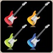 Four beautiful electric guitars on a black background  — Stock Vector