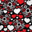Seamless pattern with red and white hearts - Stock Vector