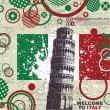 Stock vektor: Grunge Background with Leaning Tower of Pisa